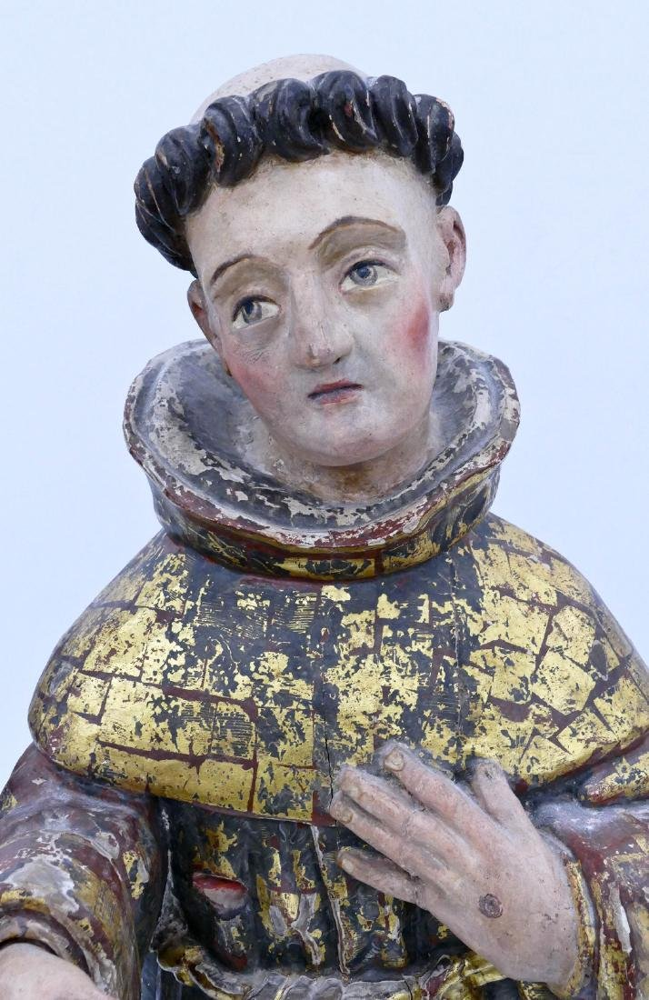 Spanish Saint Francis Gilt & Polychrome Wood Santos - 4