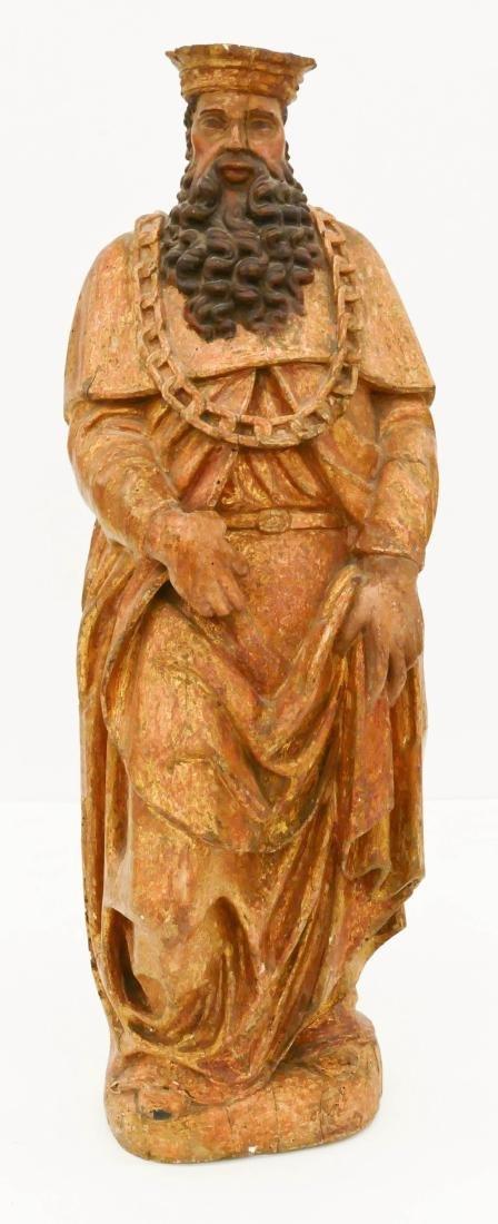Spanish Gilt & Polychrome Wood Statue of a King