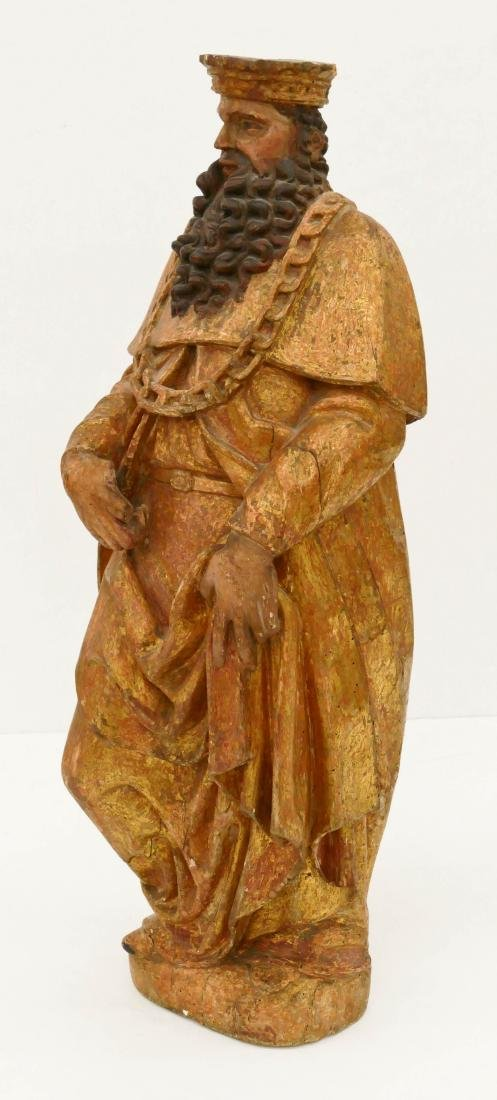 Spanish Gilt & Polychrome Wood Statue of a King - 2