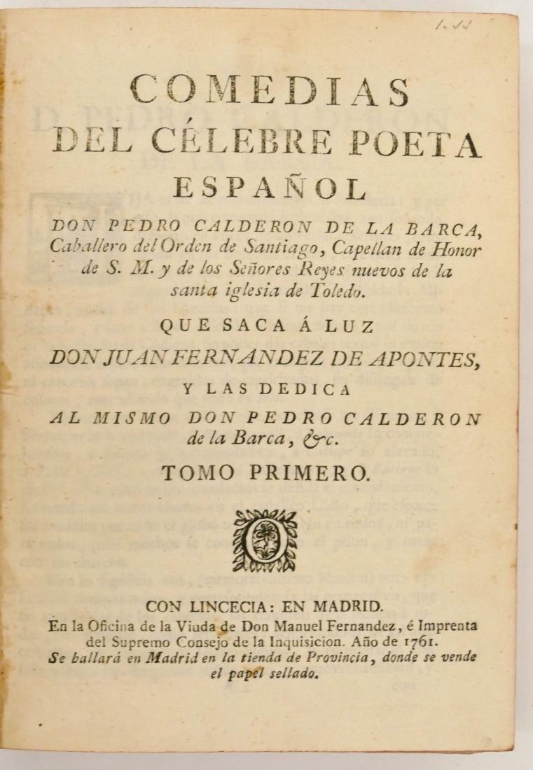 Pedro Calderon de la Barca 1761 ''Comedias Del Celebre - 3