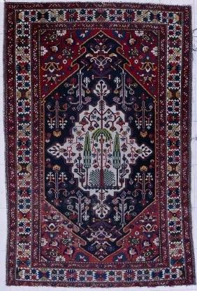 Antique Caucasian Oriental Rug with Tree 4'4''x6'8''.