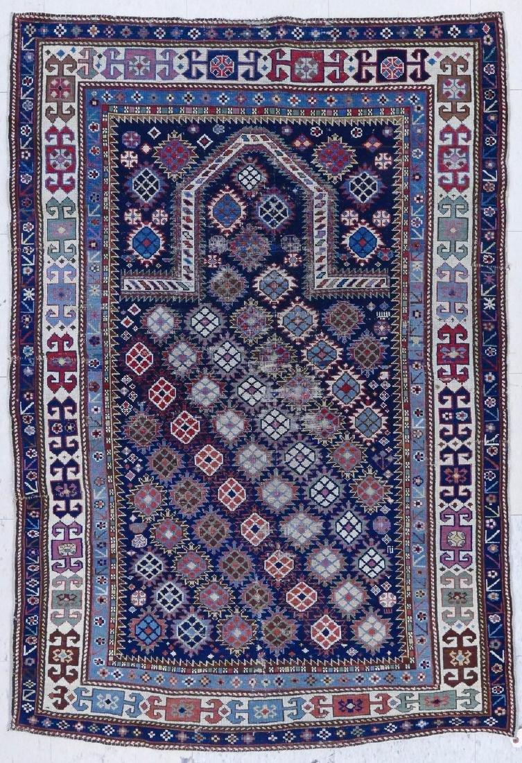Antique Caucasian Prayer Rug 3'5''x5'. Geometric border