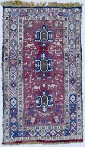 Semi Antique Soumak Oriental Rug with Animals