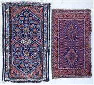 2pc Semi Antique Persian Oriental Scatter Rugs.