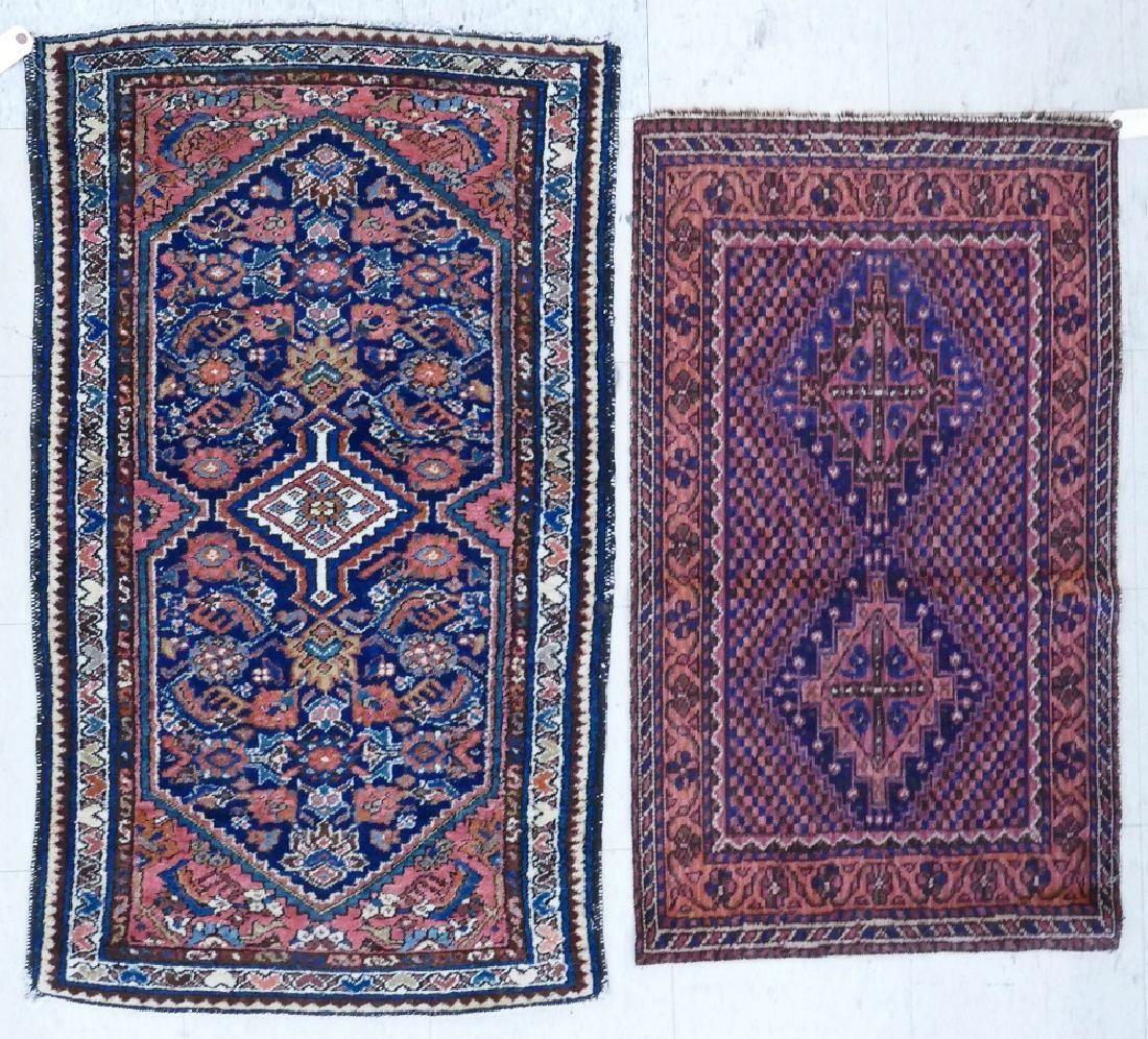 2pc Semi Antique Persian Oriental Scatter Rugs.