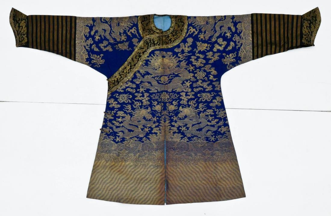 Chinese Imperial Dragon Silk Brocade Robe 52''x83''.