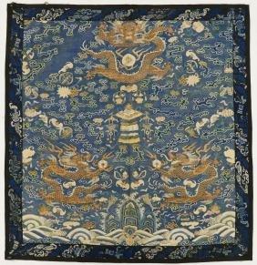 Chinese Imperial Kesi Silk Dragon Panel 34.5''x33''. An