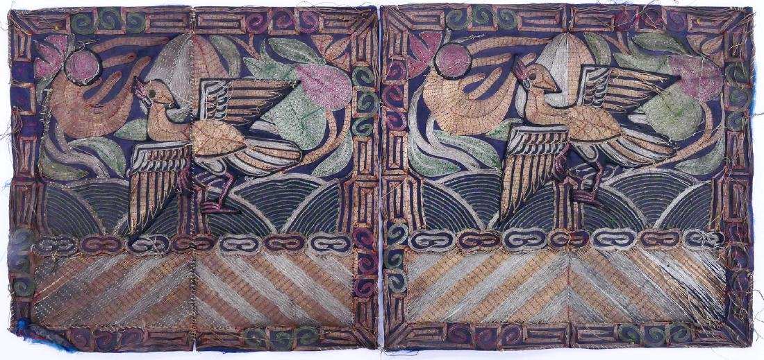 Pair Chinese Pheasant Rank Badges 8.5''x9'' Each. Gold