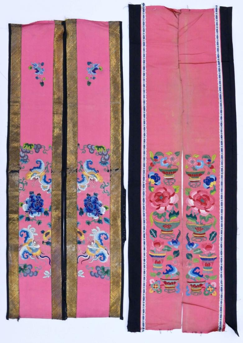 2 Pairs Chinese Silk Embroidered Sleeve Panels.