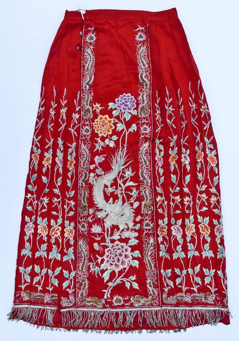 Chinese Silver Thread Wedding Skirt 36''x25''.