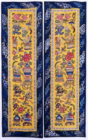 Pair Chinese Forbidden Stitch Embroidered Panels