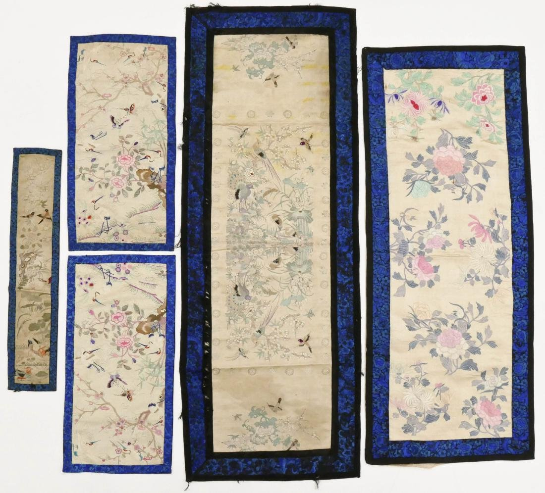 5pc Chinese Cobalt Border Silk Embroidered Panels.