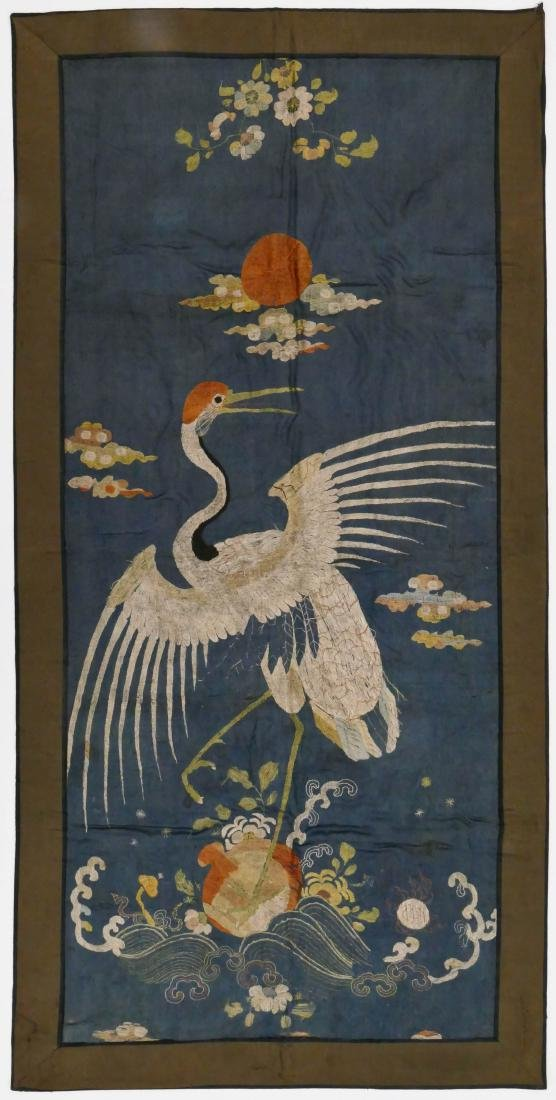 Chinese Crane with Peach Silk Embroidered Panel
