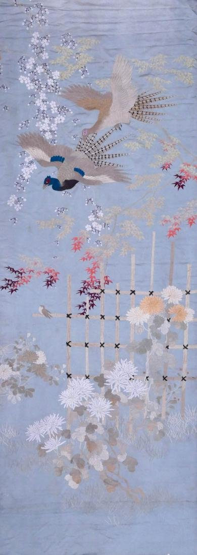 Japanese Silk Embroidered Pheasant Panel 129''x46''. A