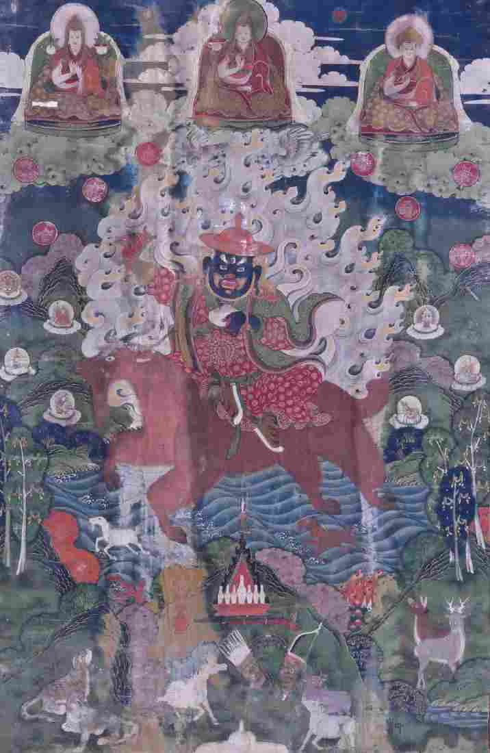 Fine Tibetan Guardian Painted Thangka 29''x18''.