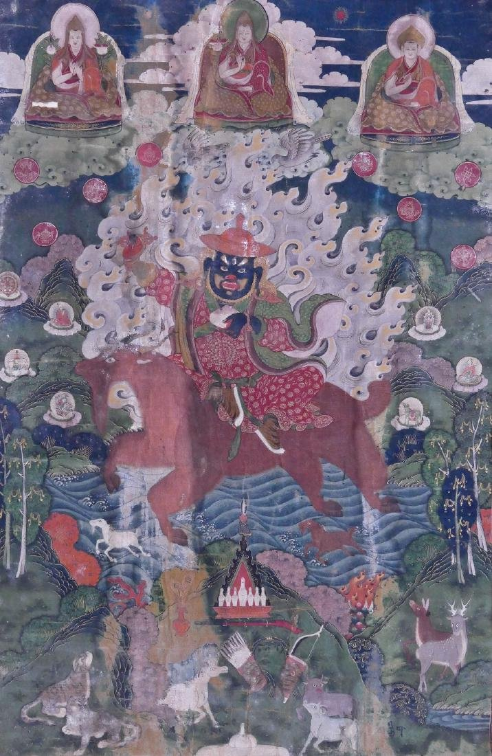 Fine Tibetan Guardian Painted Thangka 29''x18''.