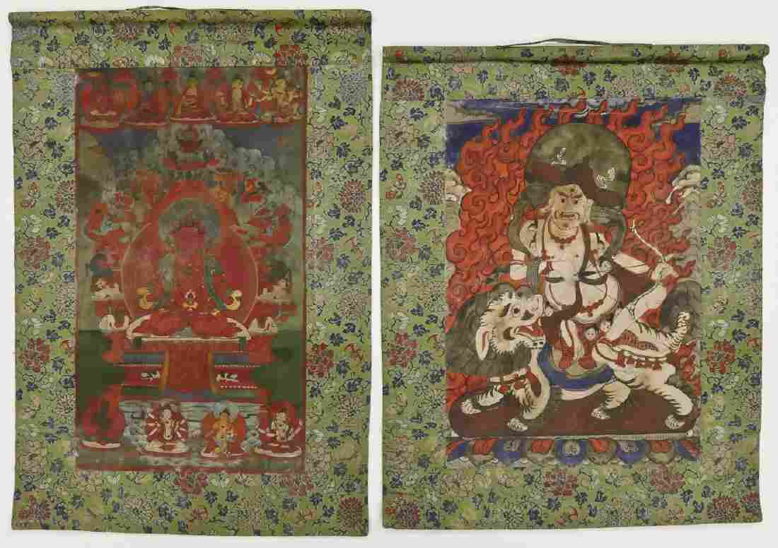 2pc Tibetan Painted Thangkas with Green Border.