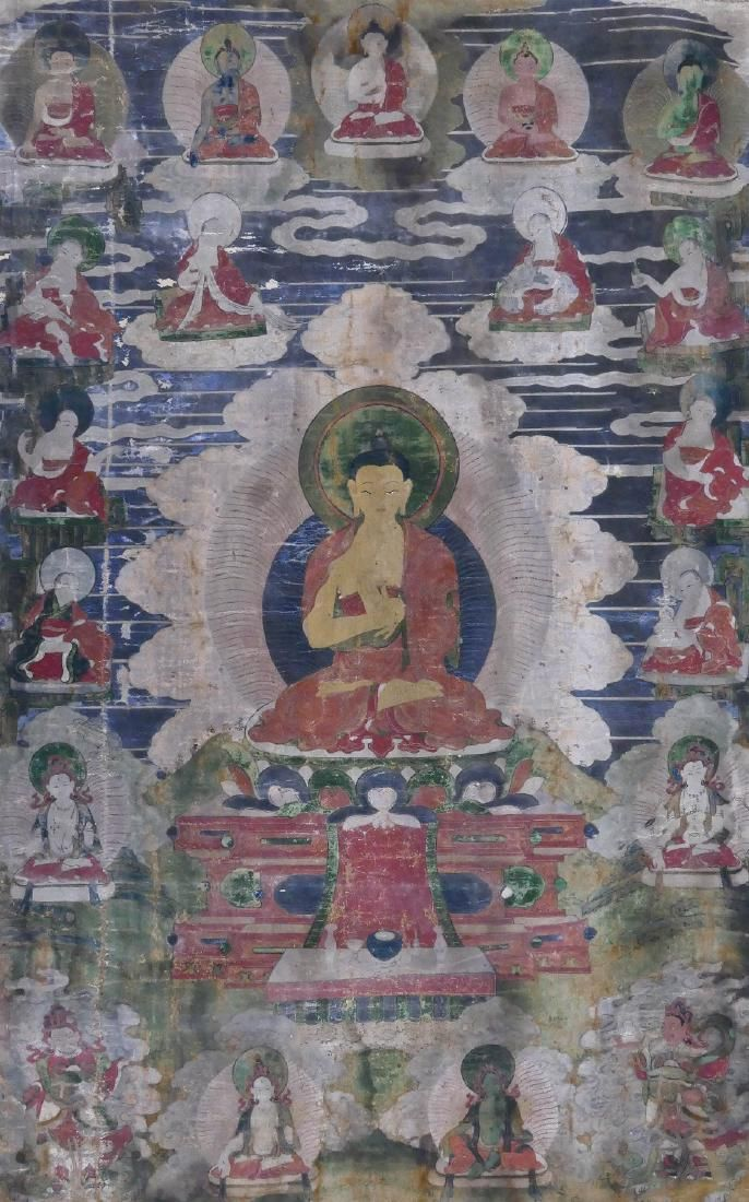 Tibetan Amitabha Buddha Painted Thangka 41''x24''.