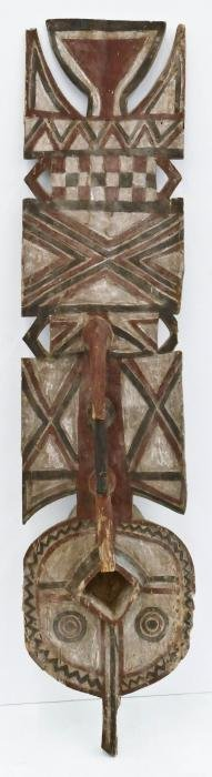 African Bwa Polychrome Plank Mask 54''x13''. Carved and