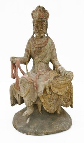 Chinese Seated Guanyin Polychrome Wood Figure