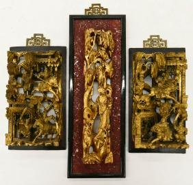 3pc Chinese Gilt Lacquered Temple Panels. Includes a