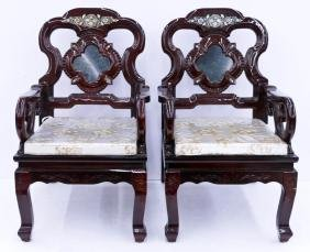 Pair Chinese Lacquered Chairs with Marble Inserts