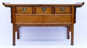 Chinese Huanghuali Three Drawer Altar Coffer