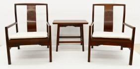 3pc Chinese Rosewood Chair & Tea Table Set. Includes a