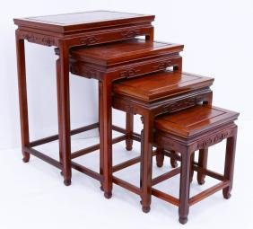 Chinese Rosewood Nesting Table Set 26''x20''x14''. A