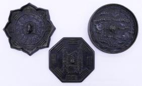 3pc Chinese Bronze Hand Mirrors 4'' to 4.5'' Each. Two