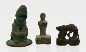 3pc Chinese Small Bronze Figural Seals. Includes a