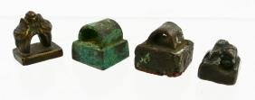4pc Chinese Small Bronze Seals. Sizes range from