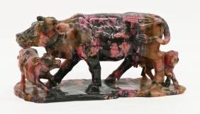Chinese Rhodonite Water Buffalo Figure Group
