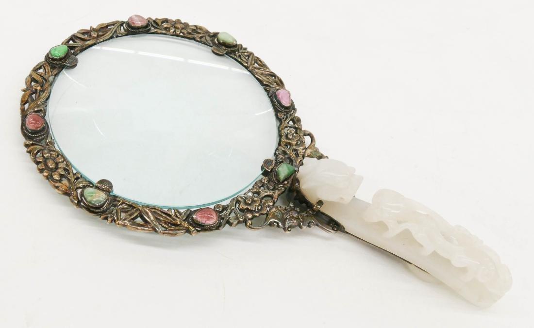 Fine Chinese Jade Belt Hook Magnifier 8''x4.5''. Handle