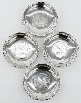 4pc Chinese Silver Coin Trays 3.25''x.5'' Each.