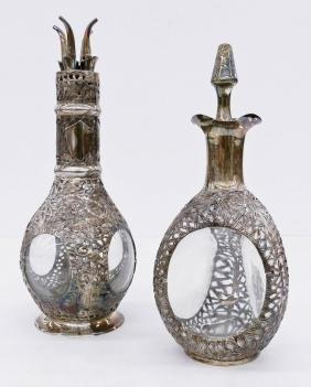 2pc Chinese Silver Overlay Pinch Decanters. Pinch
