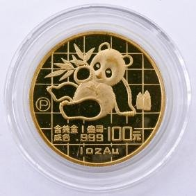 1989-P Chinese Gold Panda 1oz Coin 1.25''. A rare proof