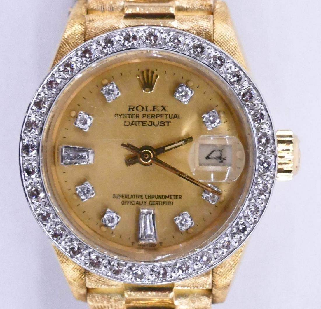 Lady's Rolex President 18k Diamond Wrist Watch. Solid