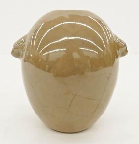 Chinese Crackle Glazed Handled Vase 6''x6''. Unusual