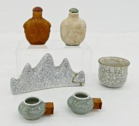 6pc Chinese Crackle Glazed Small Articles. Includes a