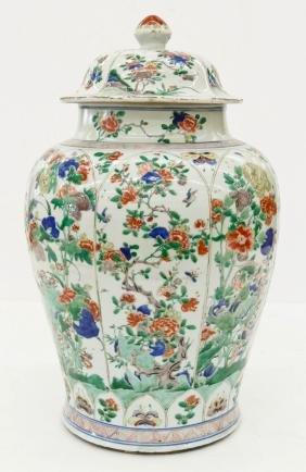 Impressive Chinese Famille Verte Porcelain Palace Jar 2