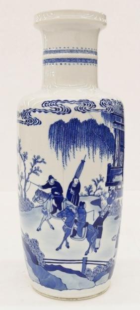 Chinese Rouleau Blue & White Porcelain Vase