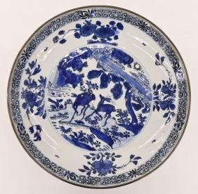 Chinese Ming Blue & White Porcelain Deer Bowl