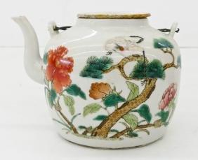 Chinese Tongzhi Porcelain Teapot 4.75''x6.75''. Famille