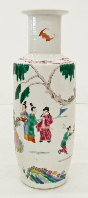 Chinese Rouleau Famille Rose Porcelain Vase