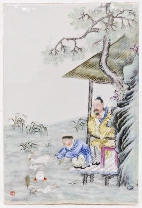 Fine Chinese Republic Porcelain Plaque 15.25''x10.25''.