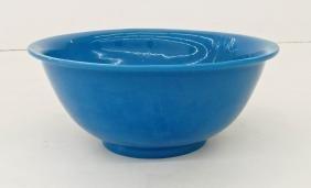 Chinese Turquoise Peking Glass Bowl 4.5''x11''. A stark