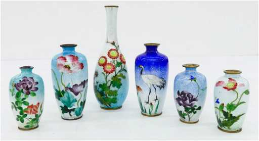 6pc Japanese Ginbari Cloisonne Curio Vases Sizes Range