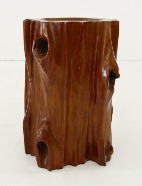 Chinese Naturalistic Rosewood Brush Pot 7''x5''.