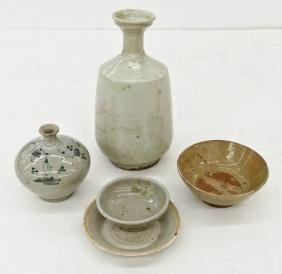5pc Early Korean & Chinese Ceramics. Includes a white